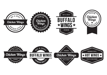 Free Buffalo and Chicken Wings Badge Vector - Free vector #424033