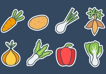 Free Fresh Vegetables Icons Vector - vector gratuit #424233