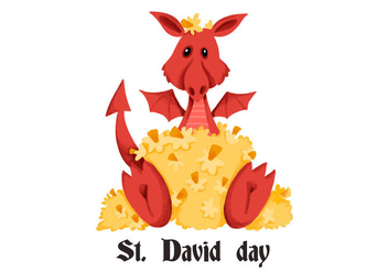 Cute Red Dragon Saint David's Day - vector gratuit #424343
