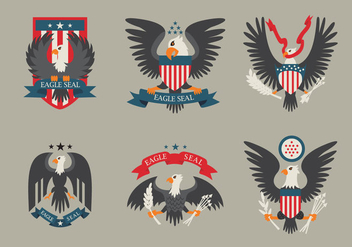 Colored Eagle Seal Logo Patch Vector - vector gratuit #424353