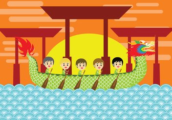 Dragon Boat Festival Vector Art - Kostenloses vector #424533