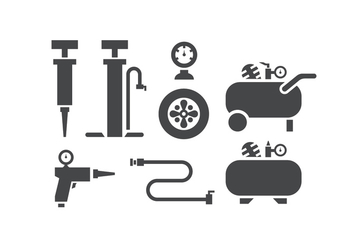 Air pump and compressor icons - vector gratuit #424583