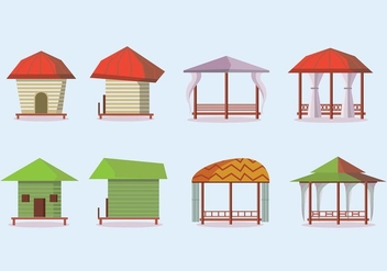 Beachside Cabana Vector Icons - Free vector #424653