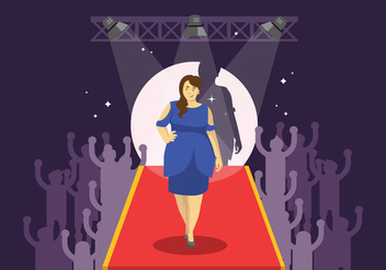 Plus Size Woman Modeling on Catwalk Illustration - бесплатный vector #424663