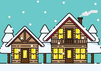 Snowy Chalet Vector Illustration - vector gratuit #424683