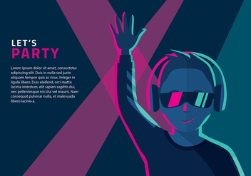Man Listening to Headphones Vector - Free vector #424773