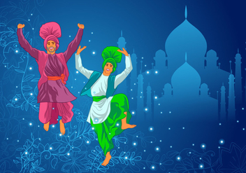 Two Man Performing Bhangra Dance Vector - бесплатный vector #424793
