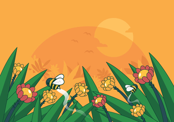 Vector Bee in the Flowers - vector #424913 gratis