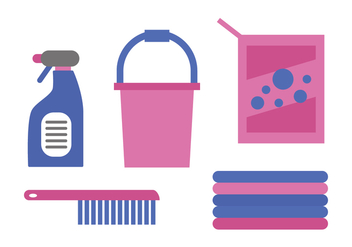 Pink Cleaning Supplies Vectors - vector gratuit #424963