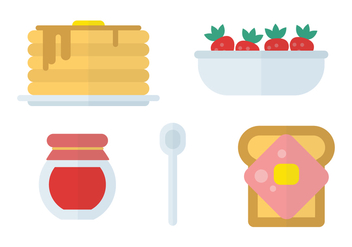 Flat Icon Breakfast Vectors - vector gratuit #424983