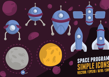 Space Program Icons - vector gratuit #425233