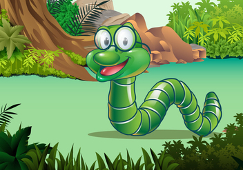 Cute Earthworm Vector Character - бесплатный vector #425353