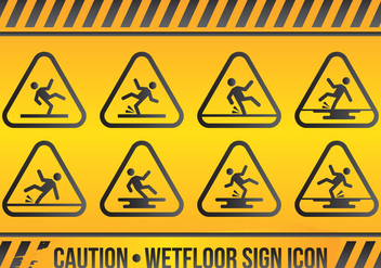 Wet Floor Sign Icon Set - vector gratuit #425383