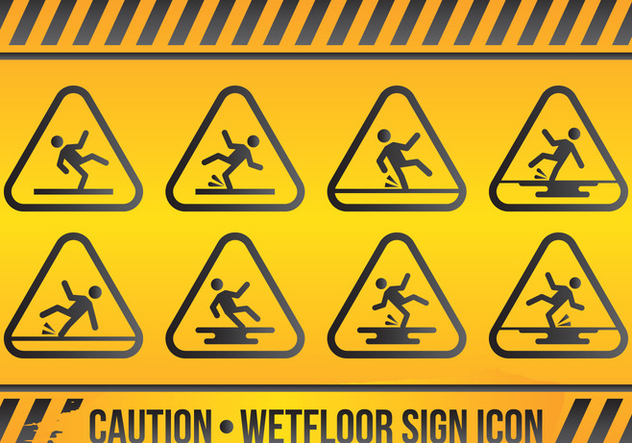 Wet Floor Sign Icon Set - Free vector #425383