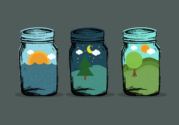 World in Mason Jar Vectors - vector gratuit #425473