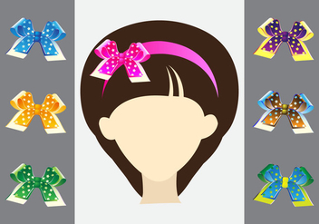 Hair Ribbon on Female Head - Free vector #425673