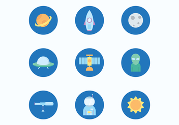 Space Flat Icons - Free vector #425703