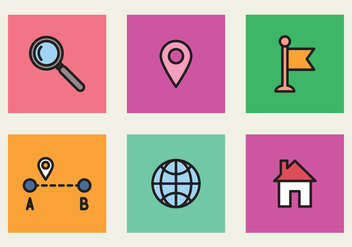Colorful Icons Of Location - vector gratuit #425733