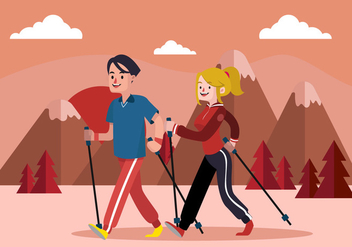 Nordic Walking Flat Vector illustration - vector gratuit #425763