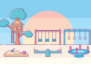 Kids Playground Illustration - Free vector #425783