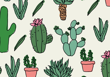 Cactus Doodles Pattern - Free vector #425823
