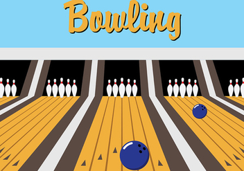 Blue Retro Bowling Lane Vector - vector gratuit #425883