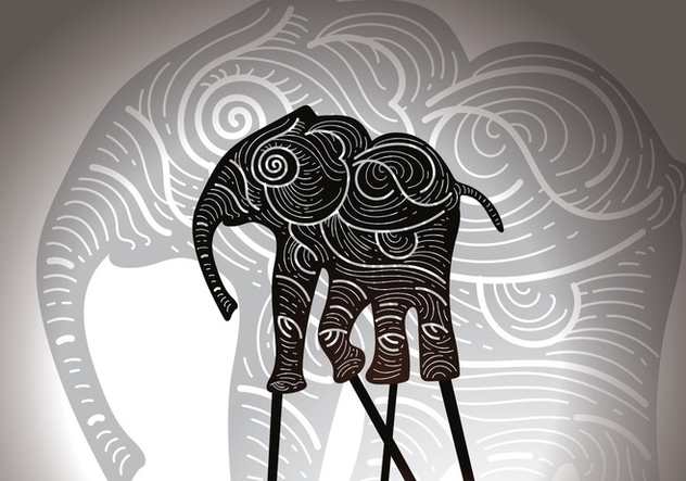 Free Elephant Shadow Puppet Vector Illustration - Kostenloses vector #426043