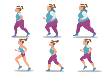 Jogging Girl Vector Set - Free vector #426133