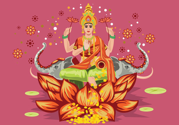 Pink Illustration of Goddess Lakshmi - vector gratuit #426203