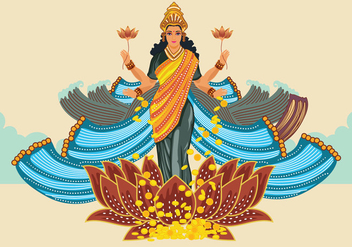 Blue Illustration of Goddess Lakshmi - vector gratuit #426213