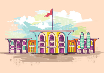 Al Alam Palace Watercolor Vector - vector gratuit #426233