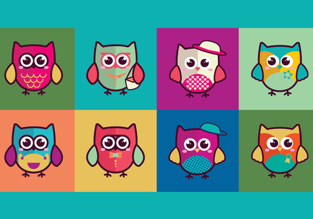 Colorful Cute Owls - vector gratuit #426303