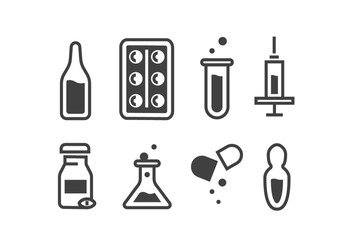 Medical Ampoule and Pill Icon Vectors - Free vector #426373