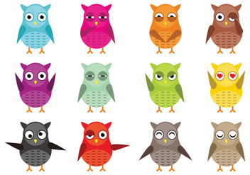 Owl Vector Character Vector Pack - Free vector #426383