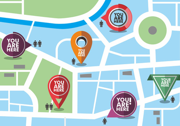 Map with You Are Here Vector Icons - Free vector #426413