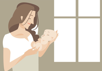 Young Beautiful Mom With Her Newborn Baby Vector - Free vector #426423
