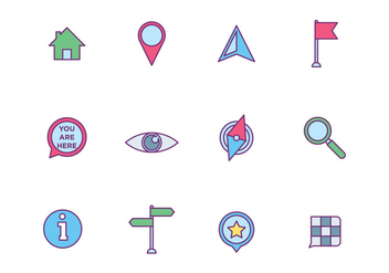 Map Element Icons on White Background - vector gratuit #426433