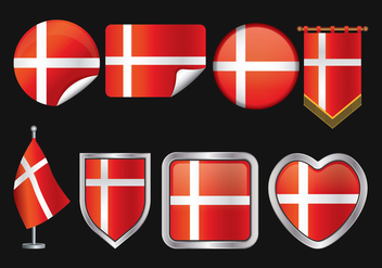 Danish Flag Vector Pack - vector gratuit #426553