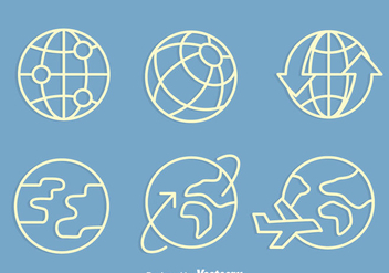 Globe With Arrow And Plane Icons Vectors - Kostenloses vector #426613