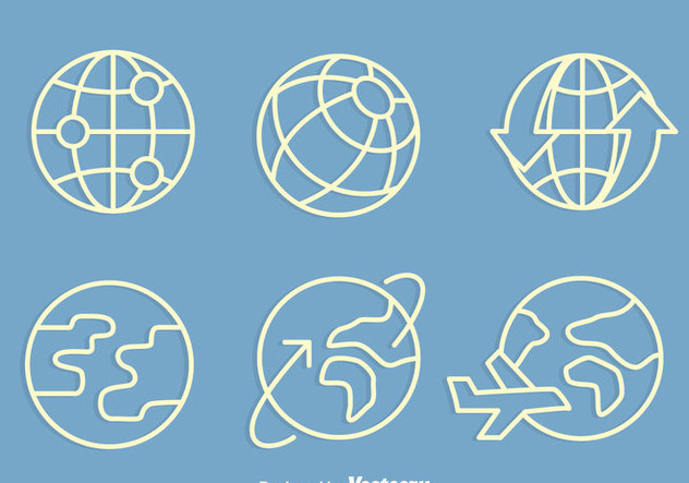 Globe With Arrow And Plane Icons Vectors - Free vector #426613