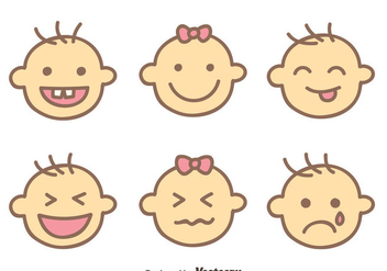 Baby Face Expression Vectors - Free vector #426793