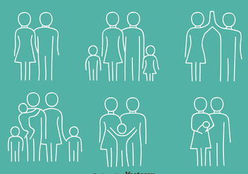 Happy Family Line Icons Vectors - vector gratuit #426833