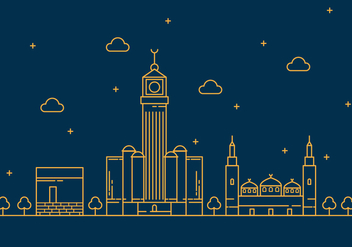Free Makkah Vector Line Illustration - Free vector #426843