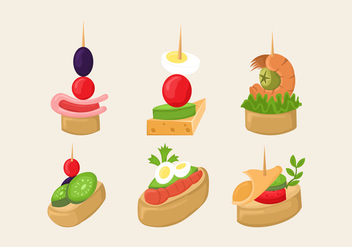 Canapes Food Slice Isolated Vector - vector gratuit #427043