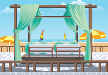 Outdoor Cabana Bed at a Resort - vector gratuit #427113