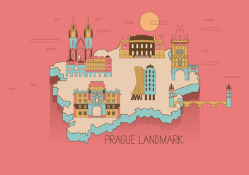 Prague Landmark Map Vector - vector gratuit #427213
