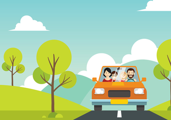 Familia Vacation Cartoon Free Vector - Kostenloses vector #427223