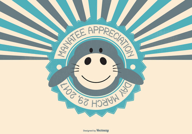 Cute Manatee Appreciation Day Illustration - Free vector #427283