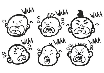 Hand Drawn Crying Baby Set - Free vector #427313