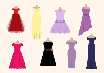 Flat Woman's Dress Vectors - Free vector #427433